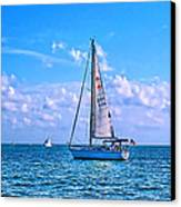 Sailing Off Of Key Largo Canvas Print by Chris Thaxter