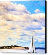 Sailing On A Beautiful Day In Boston Harbor Canvas Print by Mark E Tisdale
