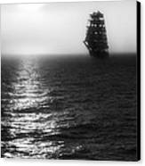 Sailing Out Of The Fog - Black And White Canvas Print by Jason Politte