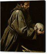 Saint Francis In Meditation Canvas Print by Michelangelo Merisi da Caravaggio