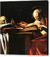 Saint Jerome Writing Canvas Print by Caravaggio