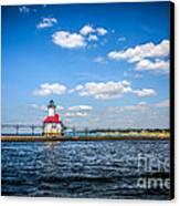 Saint Joseph Lighthouse And Pier Picture Canvas Print by Paul Velgos
