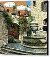 Saint Paul De Vence Fountain Canvas Print by Michael Swanson