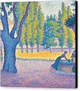 Saint-tropez Fontaine Des Lices Canvas Print by Paul Signac
