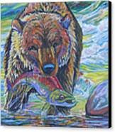 Salmon Fishing Grizzly Canvas Print by Jenn Cunningham