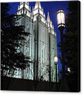 Salt Lake Mormon Temple At Night Canvas Print by Gary Whitton