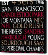 San Francisco 49ers Canvas Print by Jaime Friedman
