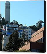 San Francisco Coit Tower At Levis Plaza 5d26193 Canvas Print by Wingsdomain Art and Photography