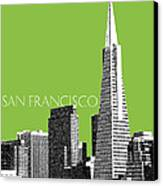 San Francisco Skyline Transamerica Pyramid Building - Olive Canvas Print by DB Artist
