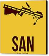 San San Diego Airport Poster 1 Canvas Print by Naxart Studio