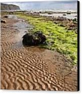 Sand Patterns On Robin Hoods Bay Beach Canvas Print by Deborah Benbrook