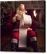 Santa Checking His List Canvas Print by Diane Diederich