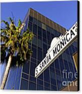 Santa Monica Blvd Sign In Beverly Hills California Canvas Print by Paul Velgos
