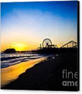 Santa Monica Pier Pacific Ocean Sunset Canvas Print by Paul Velgos