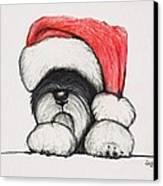 Santa Schnauzer Canvas Print by Katerina A Cechova