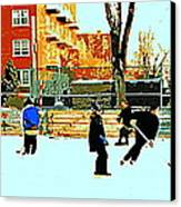 Saturday Afternoon Hockey Practice At The Neighborhood Rink Montreal Winter City Scene Canvas Print by Carole Spandau