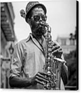 Saxophone Musician New Orleans Canvas Print by David Morefield