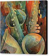 Saxophones And Bass Canvas Print by Susanne Clark