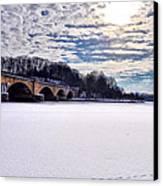 Schuylkill River - Frozen Canvas Print by Bill Cannon