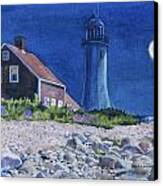 Scituate Light By Night Canvas Print by Karol Wyckoff