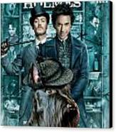 Scottish Terrier Art Canvas Print - Sherlock Holmes Movie Poster Canvas Print by Sandra Sij