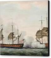 Sea Battle Canvas Print by Francis Holman
