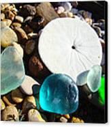 Seaglass Art Prints Rock Garden Sand Dollar Canvas Print by Baslee Troutman