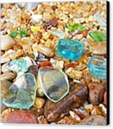 Seaglass Coastal Beach Rock Garden Agates Canvas Print by Baslee Troutman