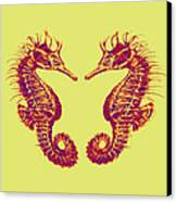 Seahorses In Love Canvas Print by Jane Schnetlage
