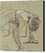Seated Dancer Adjusting Her Shoes Canvas Print by Edgar Degas