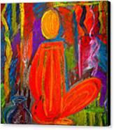 Seated Monk Canvas Print by Nirdesha Munasinghe