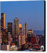 Seattle Winter Evening Panorama Canvas Print by Inge Johnsson