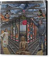 Self Portrait At 14th Street Station Canvas Print by Alfredo Arcia