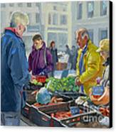 Selling Vegetables At The Market Canvas Print by Dominique Amendola