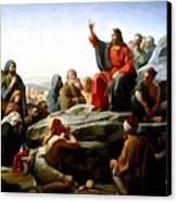 Sermon On The Mount Watercolor Canvas Print by Carl Bloch