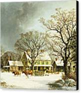 Seven Miles To Salem Canvas Print by George Henry Durrie