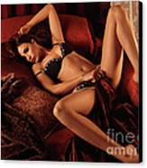 Sexy Young Woman Lying In Bed Canvas Print by Oleksiy Maksymenko