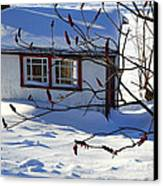 Shed In Winter Canvas Print by Sophie Vigneault