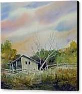 Shed With A Rail Fence Canvas Print by Sam Sidders