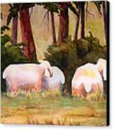 Sheep In The Meadow Canvas Print by Blenda Studio