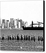 Ship In The Harbor 1990s Canvas Print by John Rizzuto