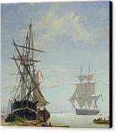 Ships In A Dutch Estuary Canvas Print by WA Van Deventer