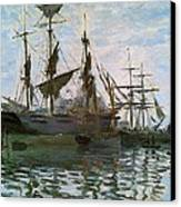 Ships In Harbor Canvas Print by Claude Monet - L Brown