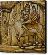 Shiva Parvati Ganesha Canvas Print by Vrindavan Das