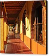 Sidewalk In Tlaquepaque District Of Guadalajara Canvas Print by Elena Elisseeva
