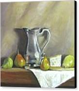 Silver Pitcher With Pears Canvas Print by Jack Skinner