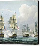 Sir Richard Strachans Action After The Battle Of Trafalgar Canvas Print by Thomas Whitcombe