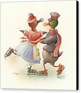 Skating Ducks 9 Canvas Print by Kestutis Kasparavicius