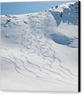 Ski Tracks In The Snow On A Mountain Canvas Print by Keith Levit