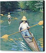 Skiffs Canvas Print by Gustave Caillebotte
